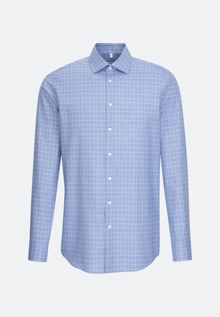 Easy-iron Glencheck Business Shirt in Regular with Kent-Collar in Medium blue |  Seidensticker Onlineshop