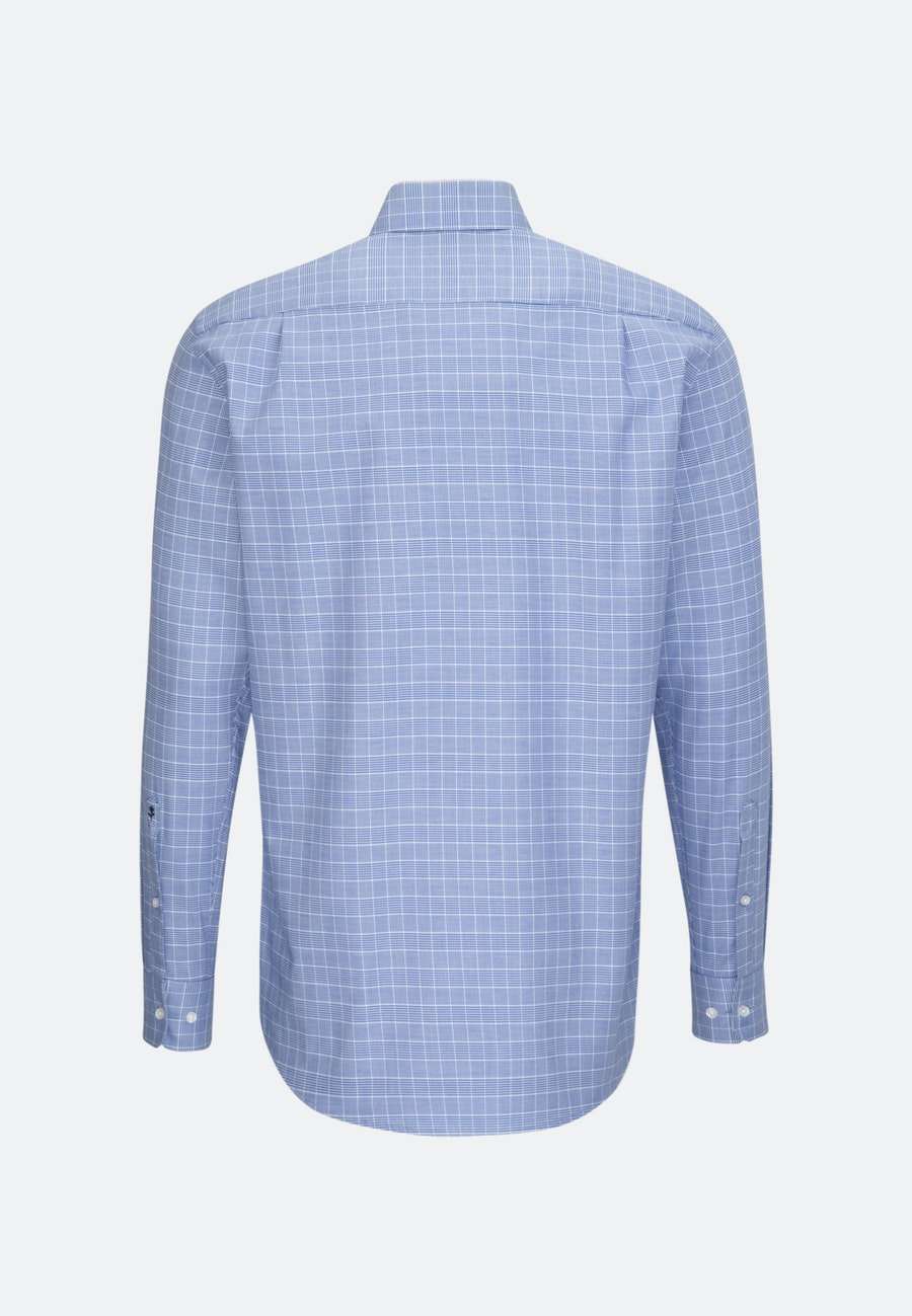Bügelleichtes Glencheck Business Hemd in Regular mit Kentkragen in Mittelblau |  Seidensticker Onlineshop