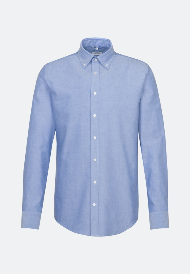 Bügelleichtes Oxford Business Hemd in Shaped mit Button-Down-Kragen und extra langem Arm in Hellblau |  Seidensticker Onlineshop