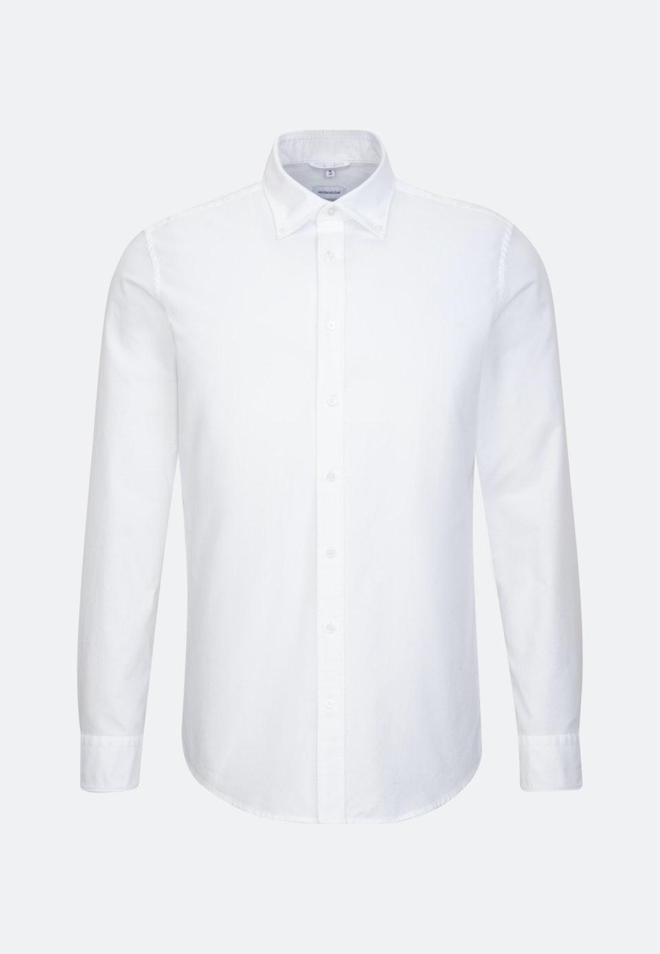 Bügelleichtes Oxford Business Hemd in Shaped mit Button-Down-Kragen und extra langem Arm in Weiß |  Seidensticker Onlineshop