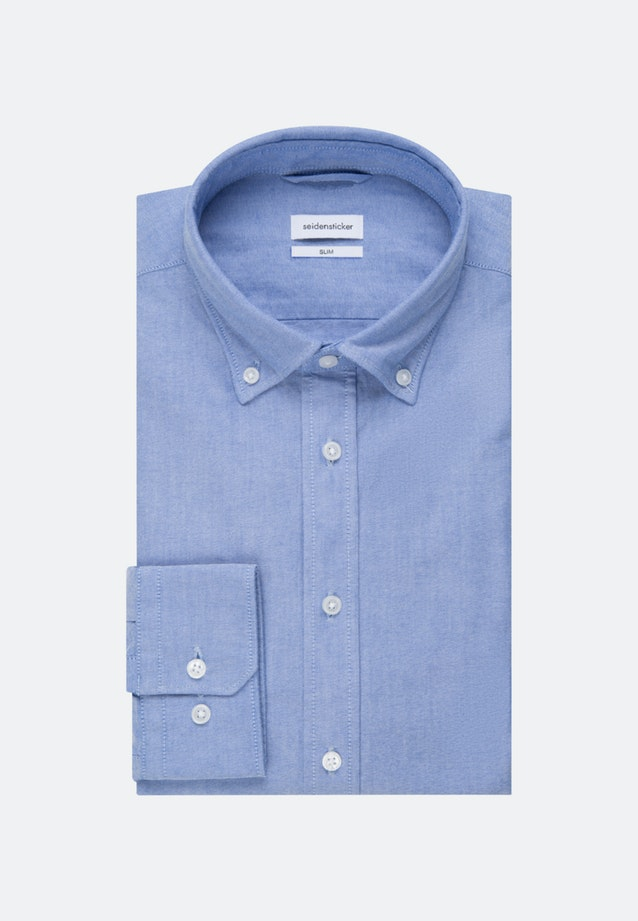 Bügelleichtes Oxford Business Hemd in Slim mit Button-Down-Kragen und extra langem Arm in Hellblau |  Seidensticker Onlineshop
