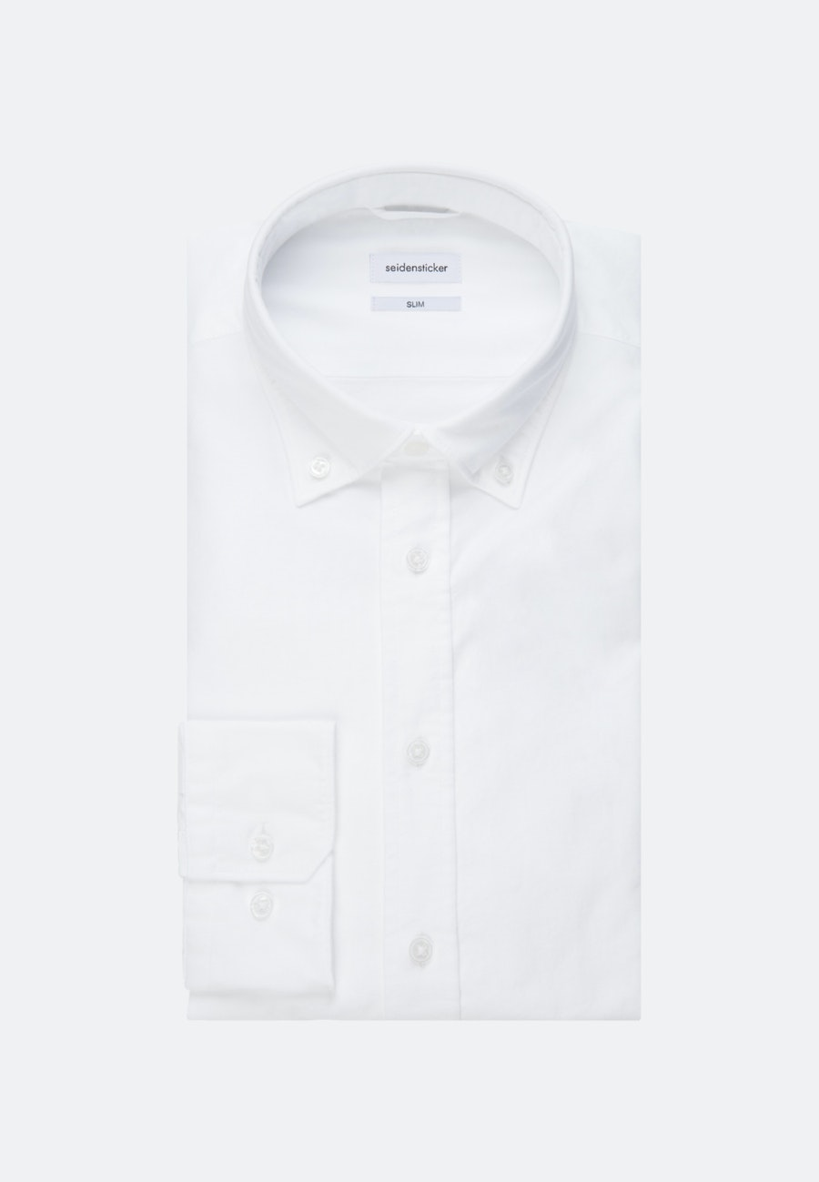 Easy-iron Oxford Business Shirt in Slim with Button-Down-Collar and extra long sleeve in White |  Seidensticker Onlineshop