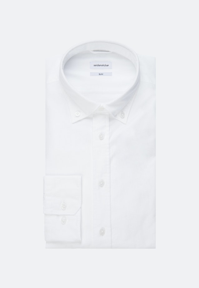 Bügelleichtes Oxford Business Hemd in Slim mit Button-Down-Kragen und extra langem Arm in Weiß |  Seidensticker Onlineshop