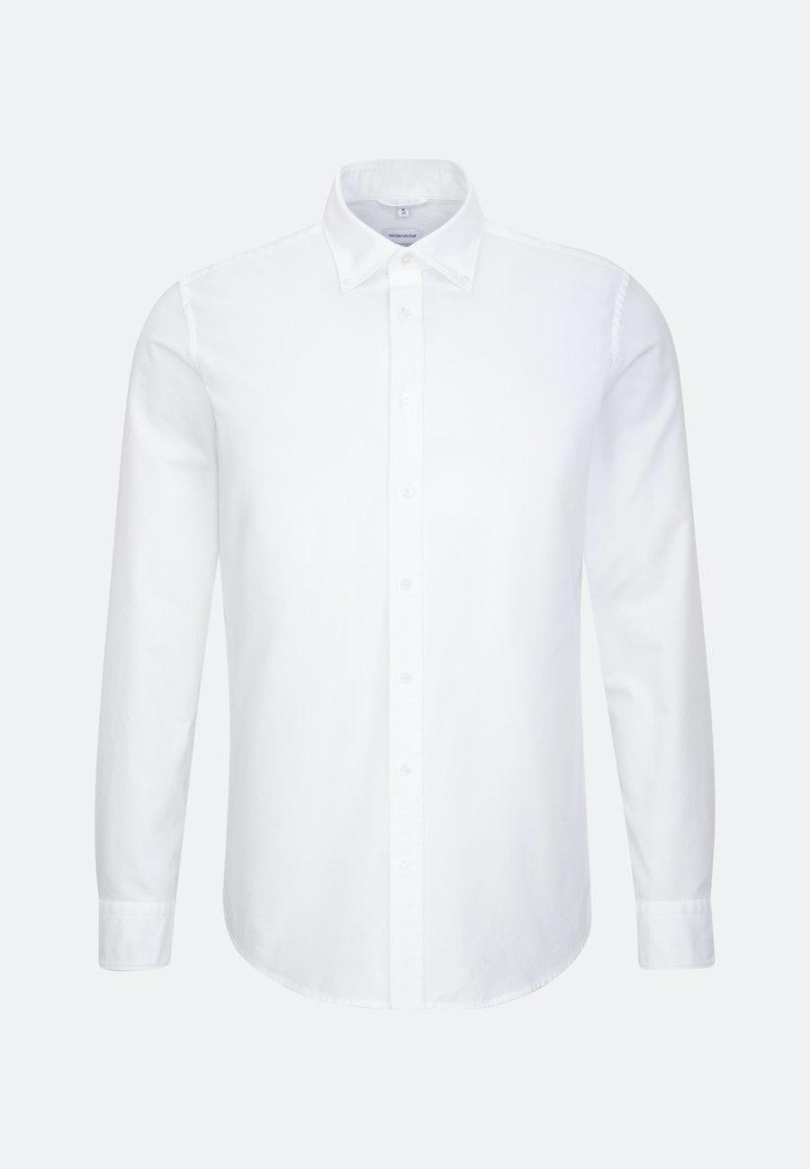 Bügelleichtes Oxford Business Hemd in Slim mit Button-Down-Kragen und extra langem Arm in Weiß    Seidensticker Onlineshop