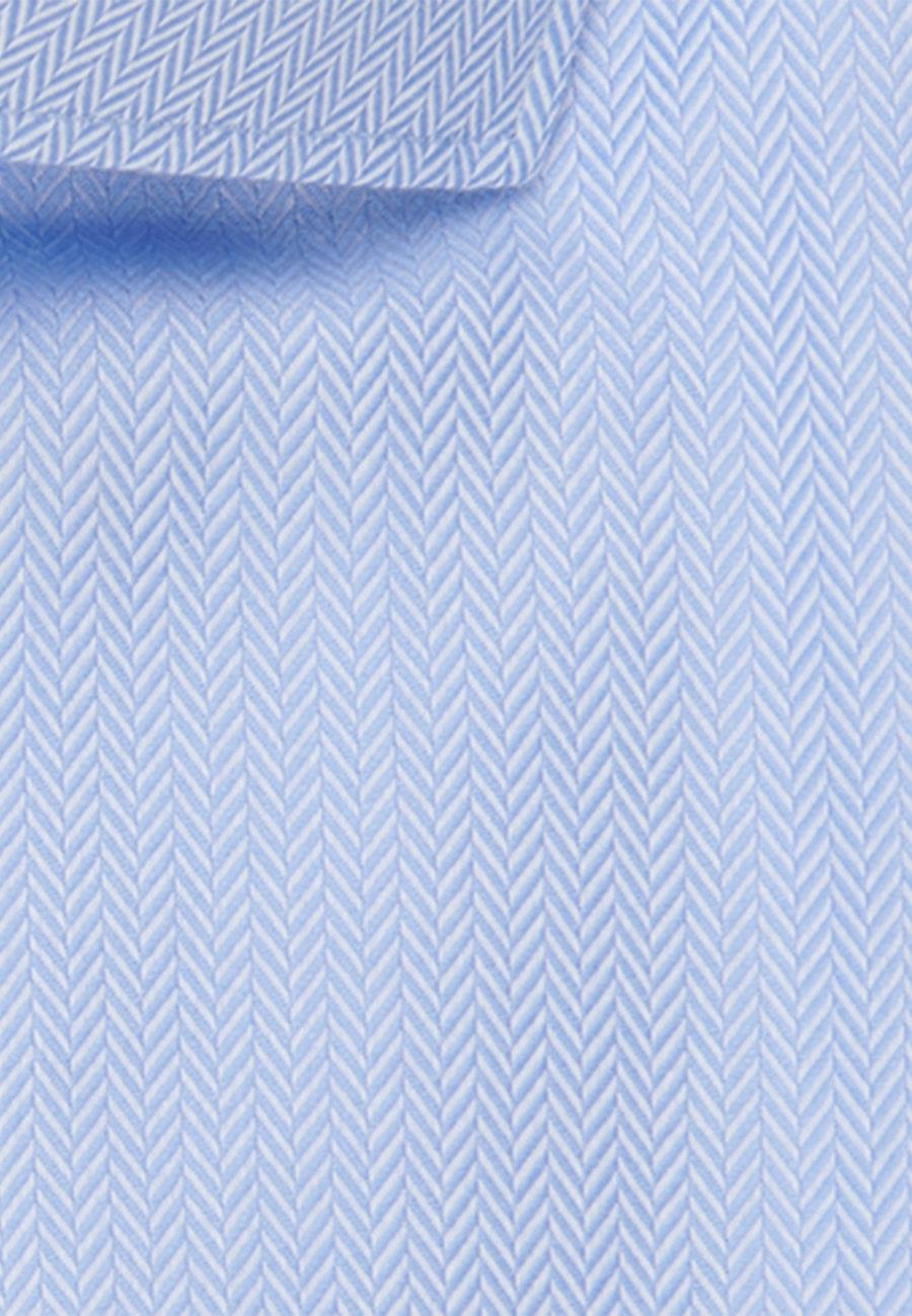 Easy-iron Fischgrat Business Shirt in Slim with Kent-Collar in Light blue    Seidensticker Onlineshop