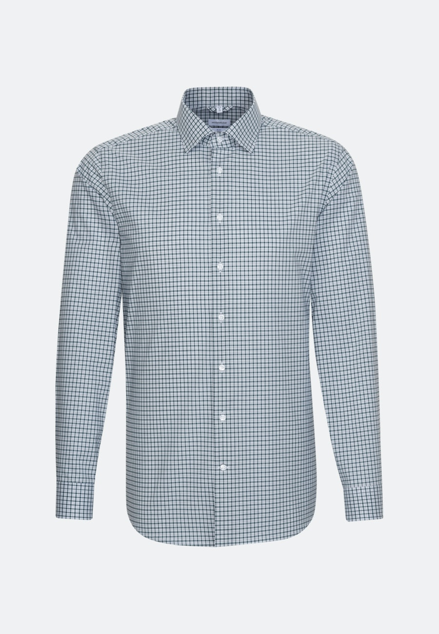 Non-iron Popeline Business Shirt in Slim with Kent-Collar in Green |  Seidensticker Onlineshop