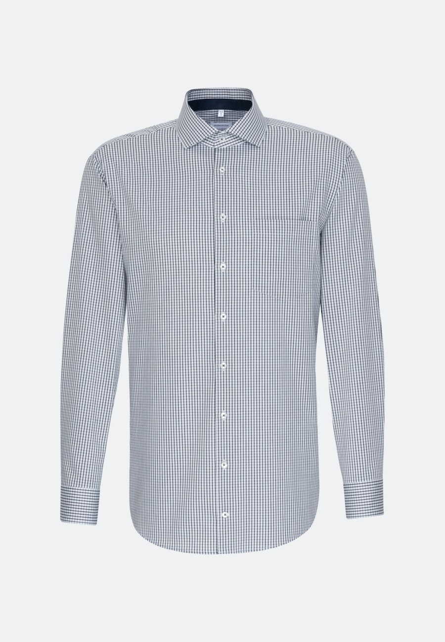 Non-iron Twill Business Shirt in Regular with Kent-Collar in Dark blue |  Seidensticker Onlineshop