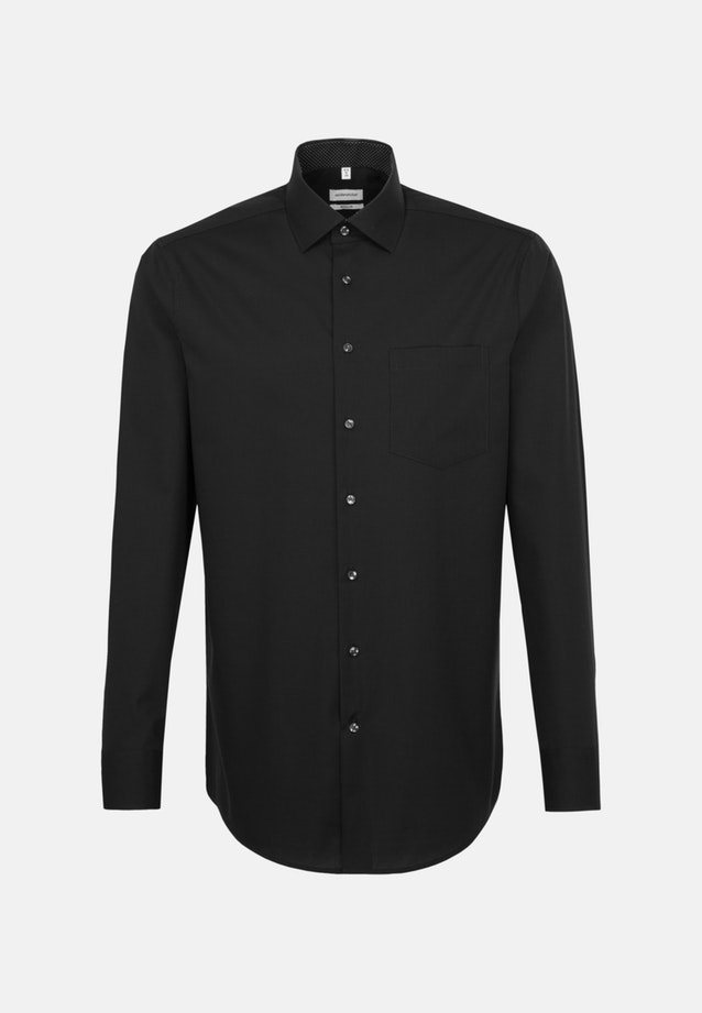 Non-iron Popeline Business Shirt in Regular with Kent-Collar and extra long sleeve in Black |  Seidensticker Onlineshop