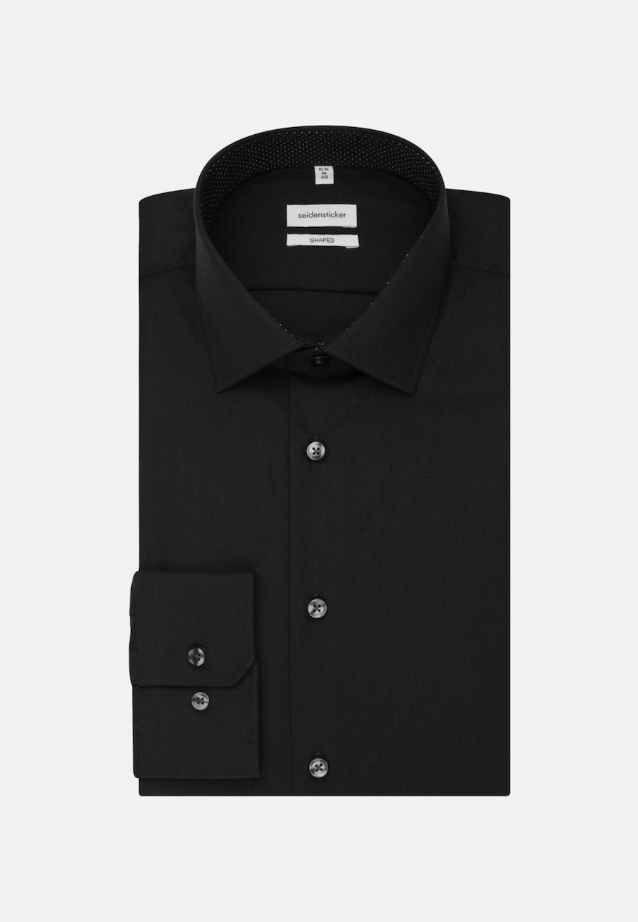 Bügelfreies Popeline Business Hemd in Shaped mit Kentkragen und extra langem Arm in Schwarz    Seidensticker Onlineshop