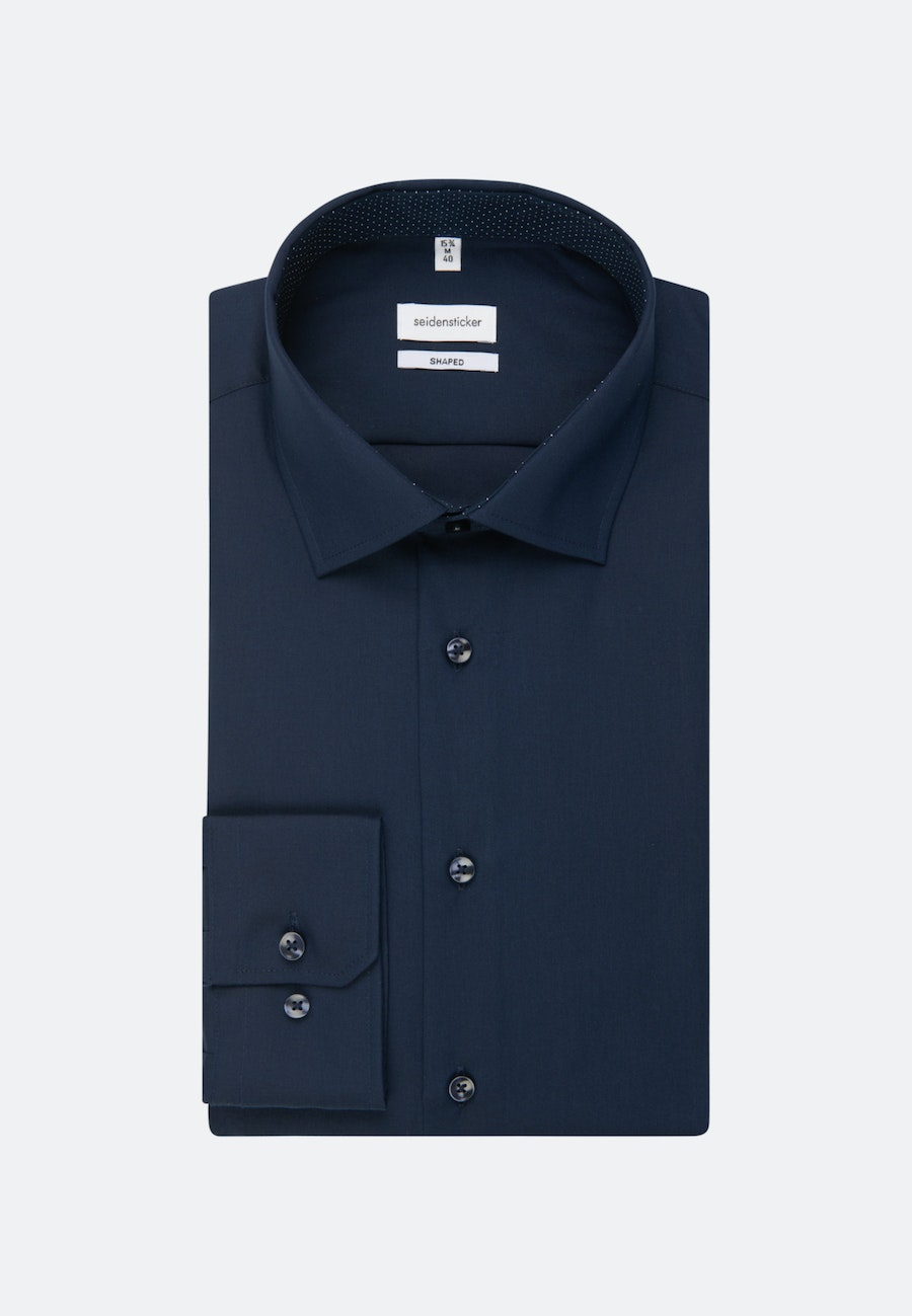 Non-iron Poplin Business Shirt in Shaped with Kent-Collar and extra long sleeve in Dark blue |  Seidensticker Onlineshop