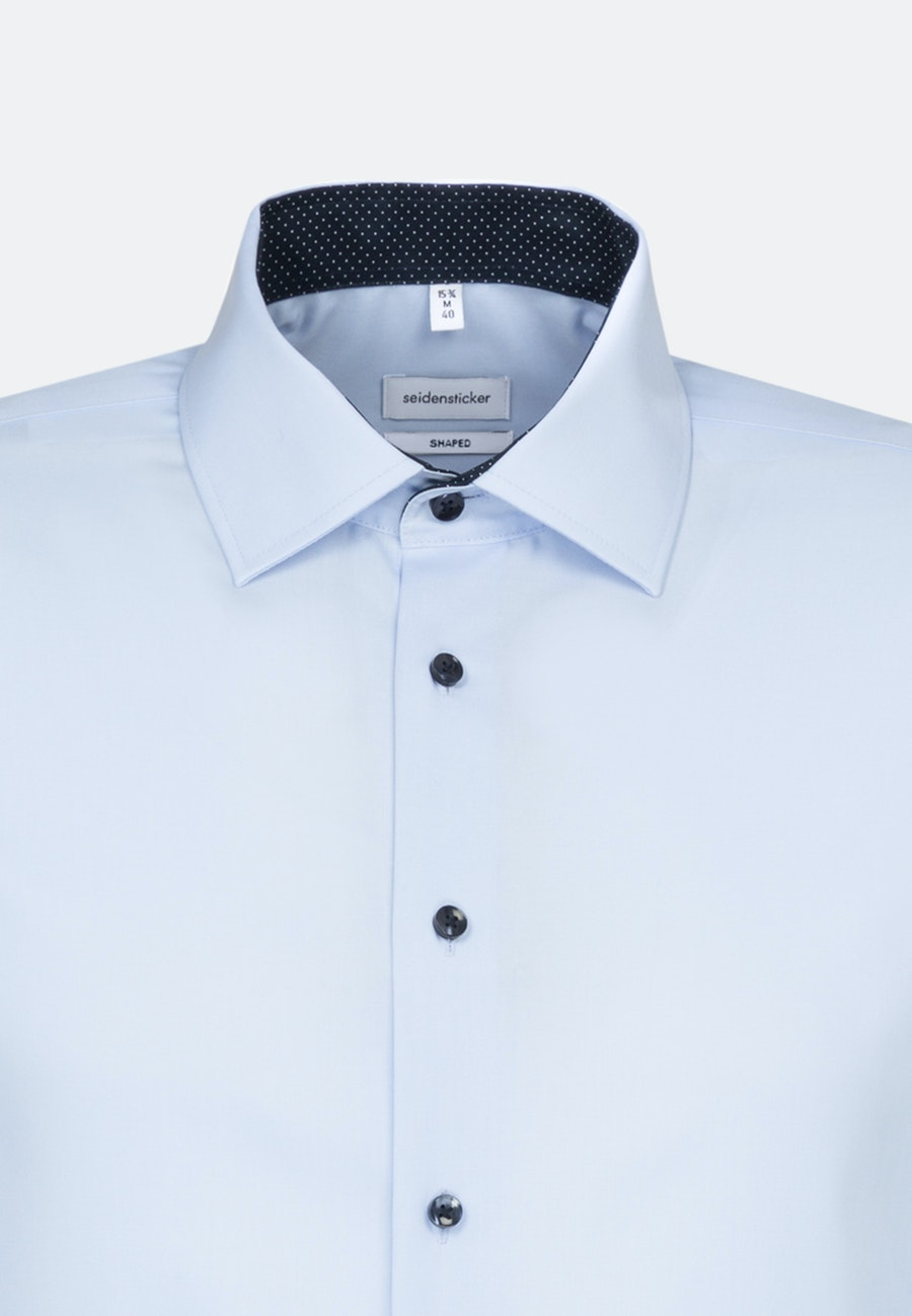 Non-iron Poplin Business Shirt in Shaped with Kent-Collar and extra long sleeve in Medium blue |  Seidensticker Onlineshop