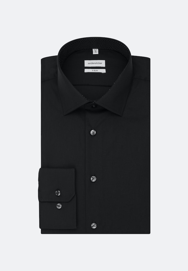 Non-iron Popeline Business Shirt in X-Slim with Kent-Collar and extra long sleeve in Black |  Seidensticker Onlineshop
