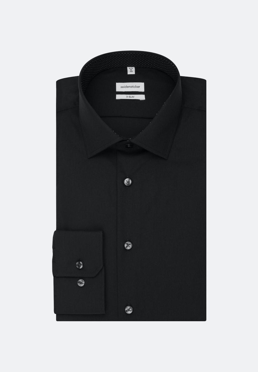 Bügelfreies Popeline Business Hemd in X-Slim mit Kentkragen und extra langem Arm in Schwarz    Seidensticker Onlineshop