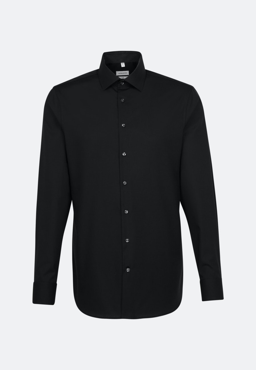 Bügelfreies Popeline Business Hemd in X-Slim mit Kentkragen und extra langem Arm in Schwarz |  Seidensticker Onlineshop