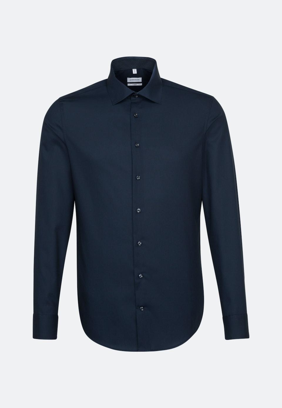 Non-iron Poplin Business Shirt in X-Slim with Kent-Collar and extra long sleeve in Dark blue |  Seidensticker Onlineshop