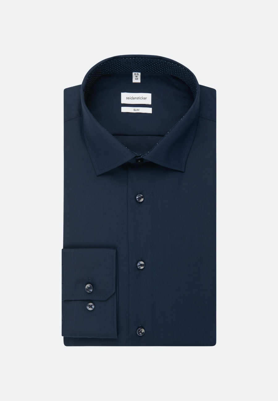 Non-iron Poplin Business Shirt in Slim with Kent-Collar and extra long sleeve in Dark blue |  Seidensticker Onlineshop