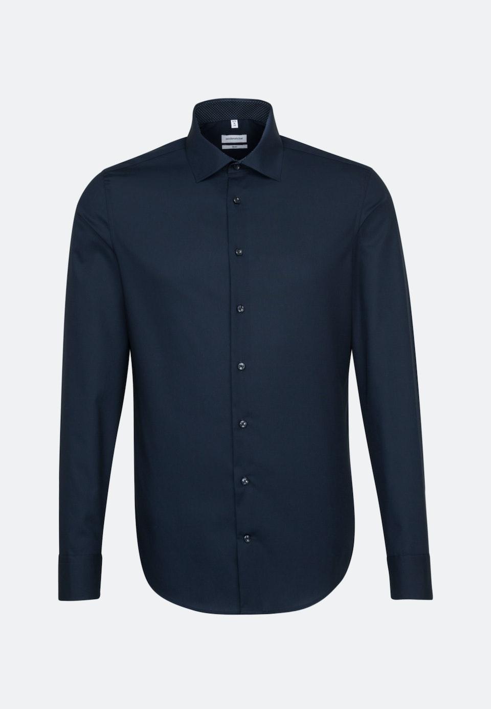 Non-iron Poplin Business Shirt in Slim with Kent-Collar and extra long sleeve in Dark blue    Seidensticker Onlineshop