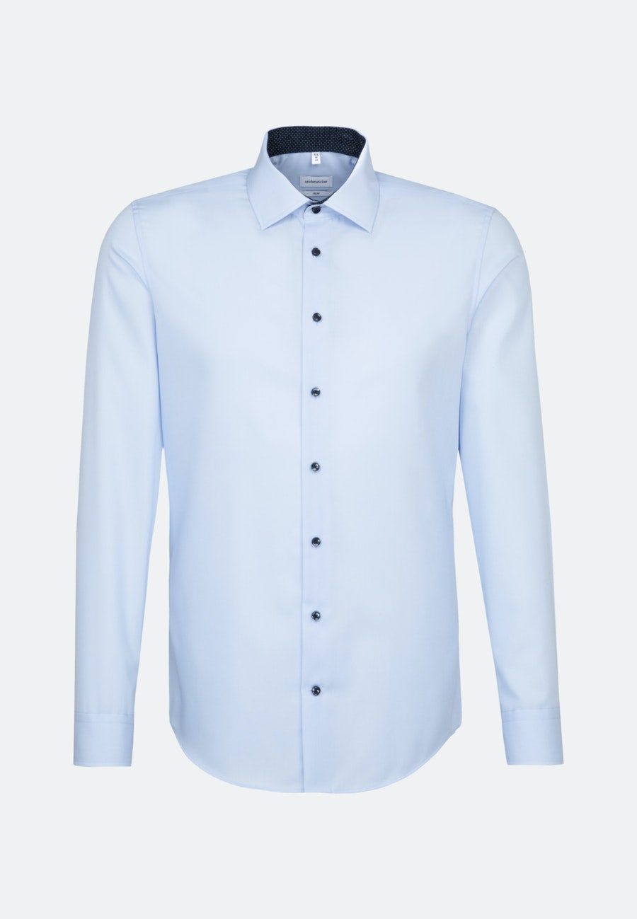 Bügelfreies Popeline Business Hemd in Slim mit Kentkragen und extra langem Arm in Mittelblau    Seidensticker Onlineshop