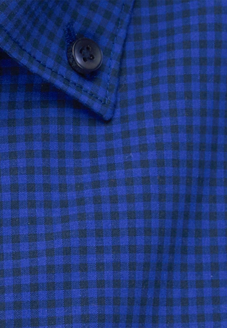 Non-iron Popeline Business Shirt in Shaped with Button-Down-Collar in Medium blue |  Seidensticker Onlineshop