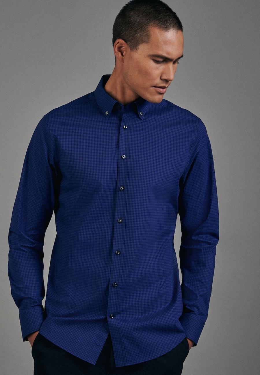 Bügelfreies Popeline Business Hemd in Shaped mit Button-Down-Kragen in Mittelblau |  Seidensticker Onlineshop