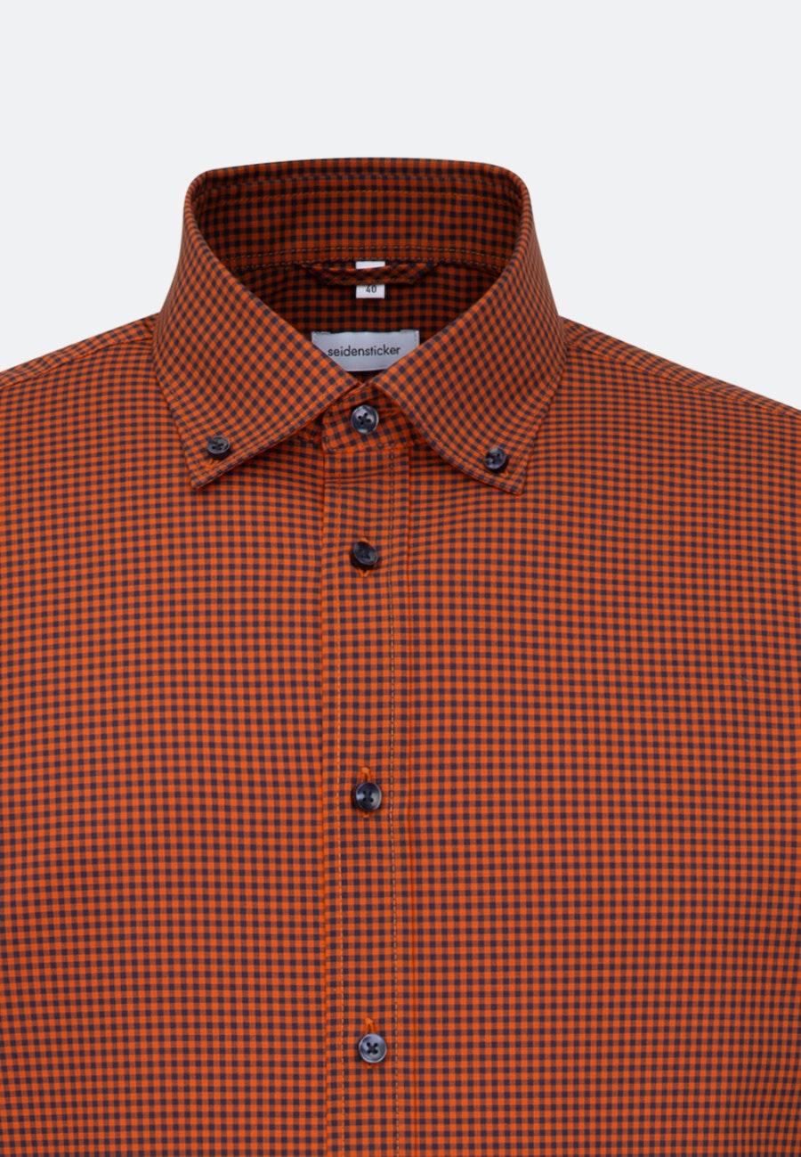 Bügelfreies Popeline Business Hemd in Shaped mit Button-Down-Kragen in Orange    Seidensticker Onlineshop