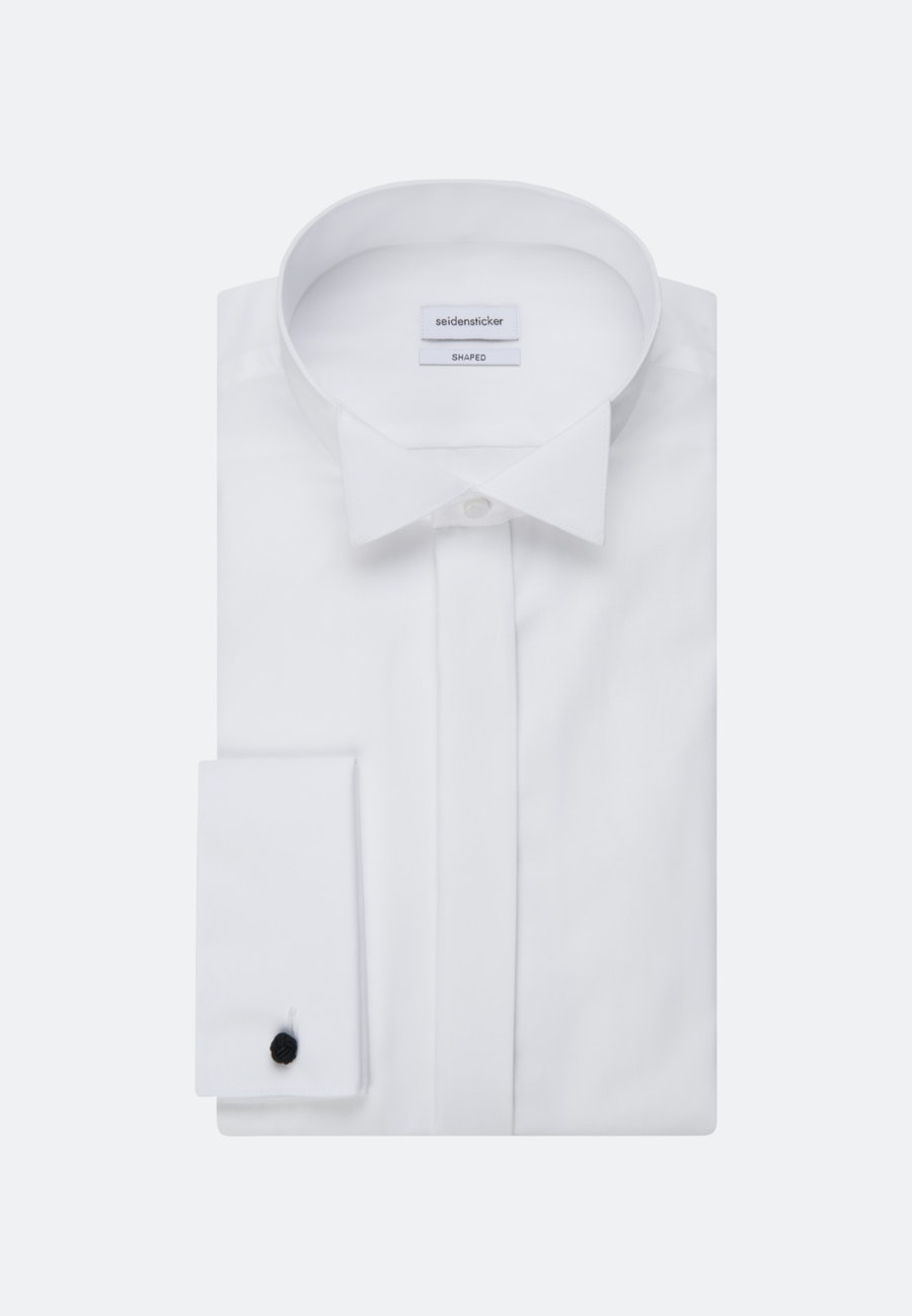 Non-iron Popeline Gala Shirt in Shaped with Wing Collar in White    Seidensticker Onlineshop