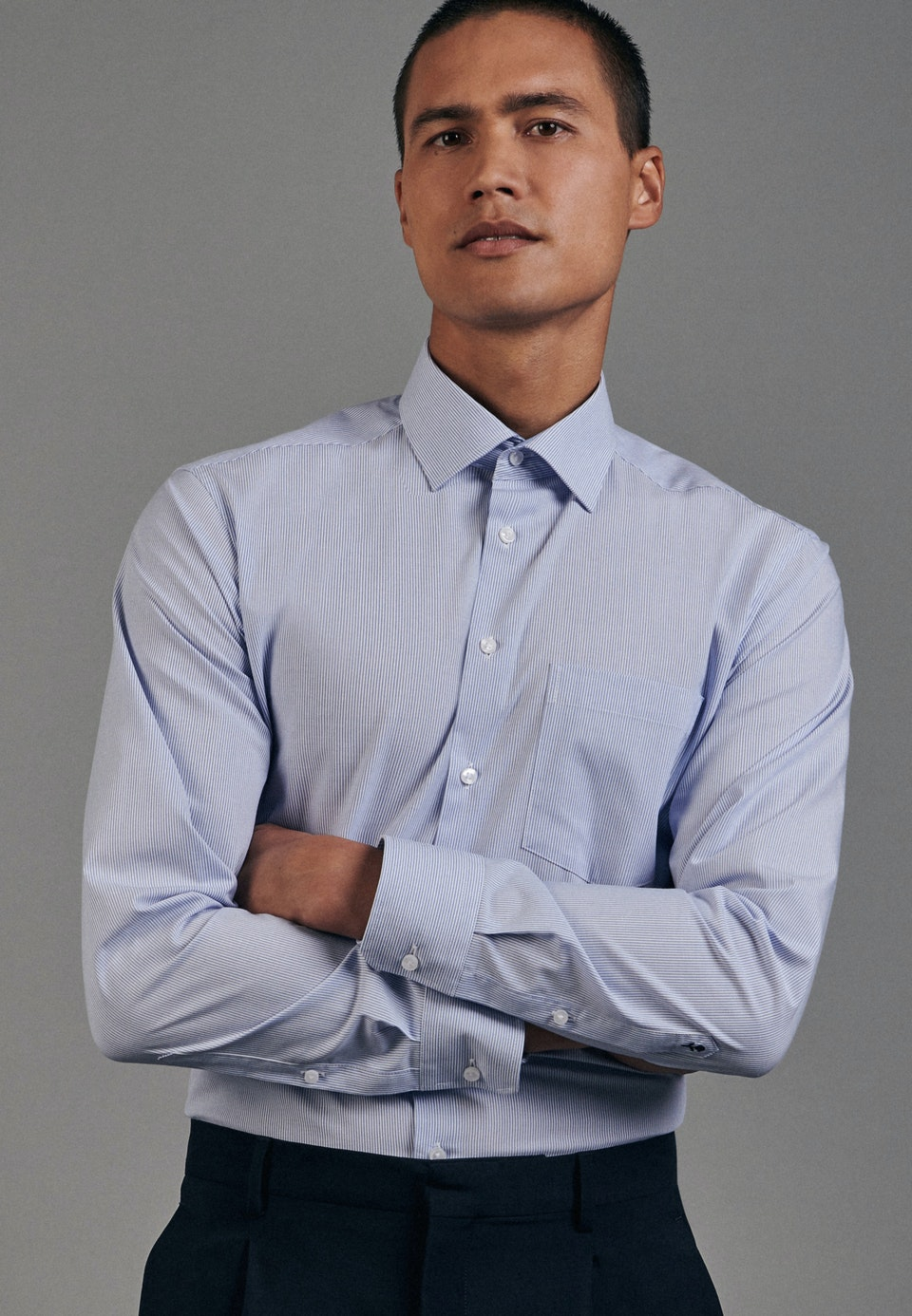 Non-iron Popeline Business Shirt in Regular with Kent-Collar in Light blue |  Seidensticker Onlineshop
