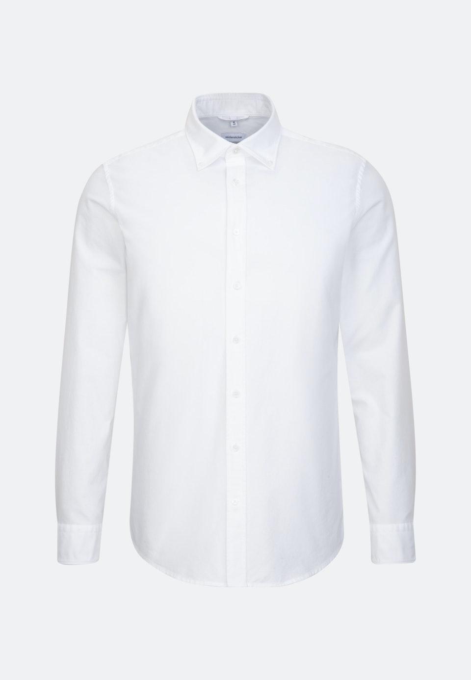 Bügelleichtes Oxford Business Hemd in Regular mit Button-Down-Kragen und extra langem Arm in Weiß |  Seidensticker Onlineshop