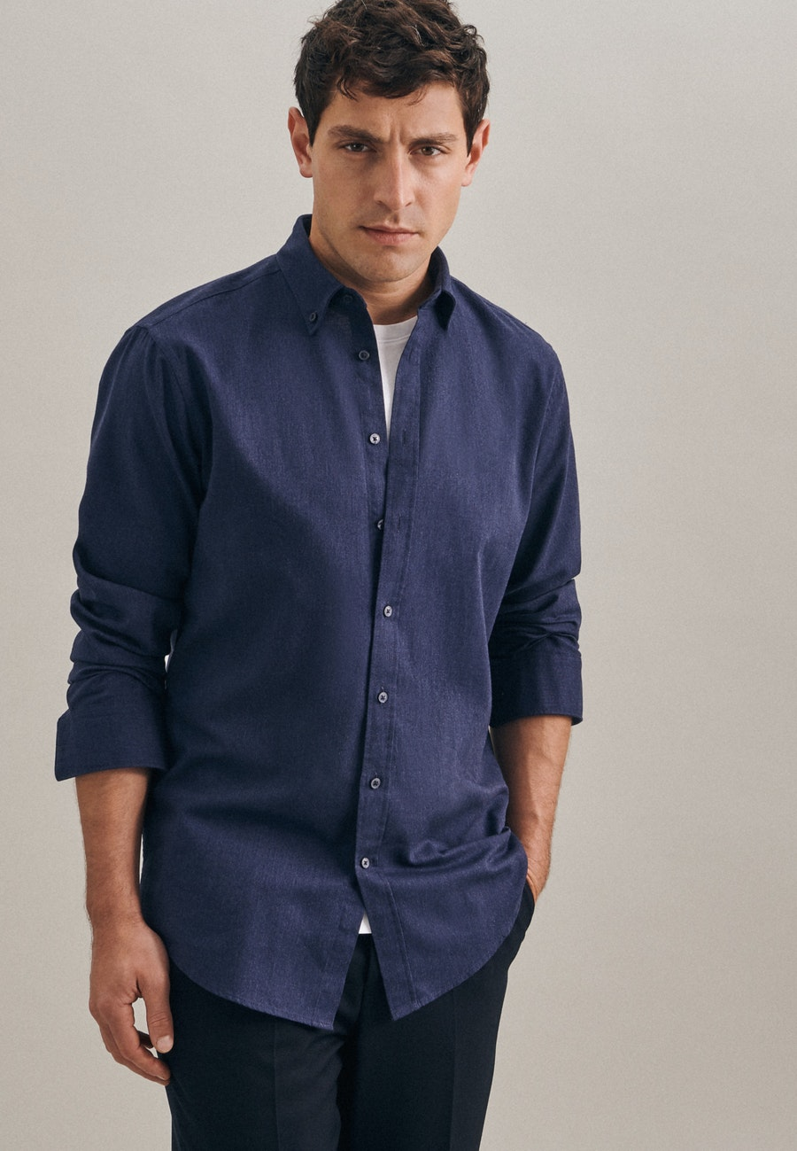 Panama Business Shirt in Regular with Button-Down-Collar in Dark blue |  Seidensticker Onlineshop