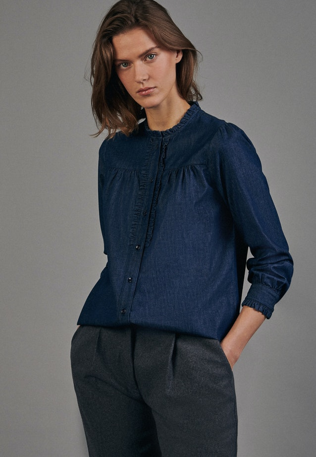 Denim Stand-Up Blouse made of 100% Cotton in Dark blue |  Seidensticker Onlineshop
