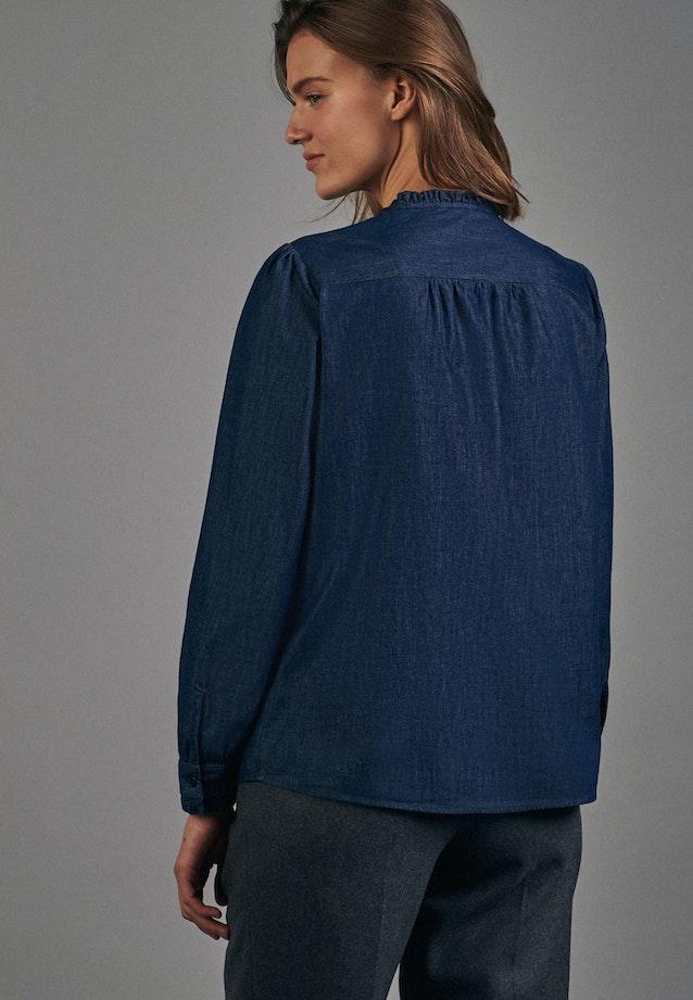Denim Stand-Up Blouse made of 100% Cotton in Dark blue |  Seidensticker Onlineshop
