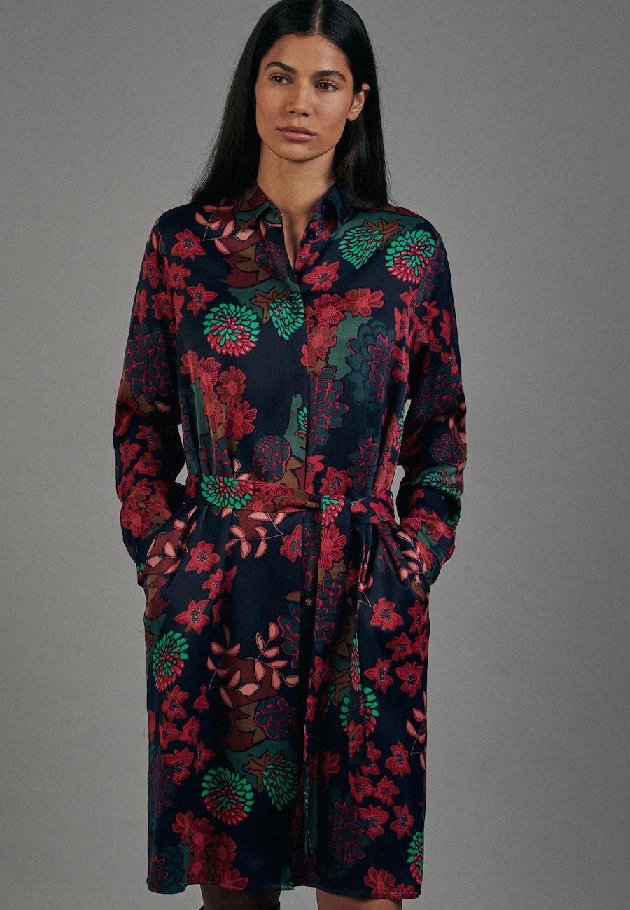 Satin Midi Dress made of 100% Viscose in Dark blue |  Seidensticker Onlineshop