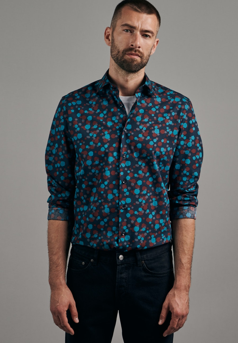 Easy-iron Poplin Business Shirt in Shaped with Kent-Collar in Turquoise    Seidensticker Onlineshop