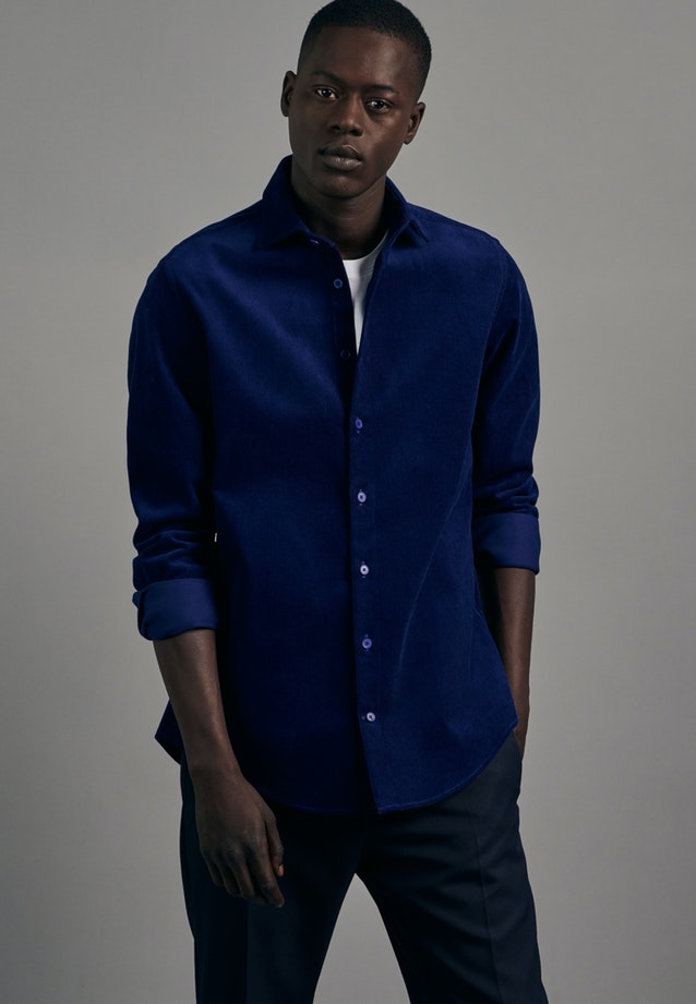 Easy-iron Cord Business Shirt in Slim with Kent-Collar in Medium blue |  Seidensticker Onlineshop