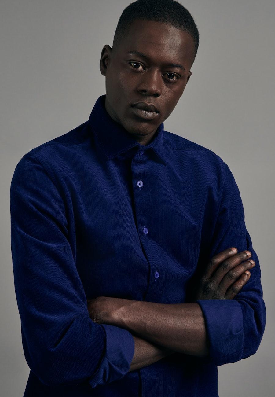 Easy-iron Corduroy Business Shirt in Slim with Kent-Collar in Medium blue |  Seidensticker Onlineshop
