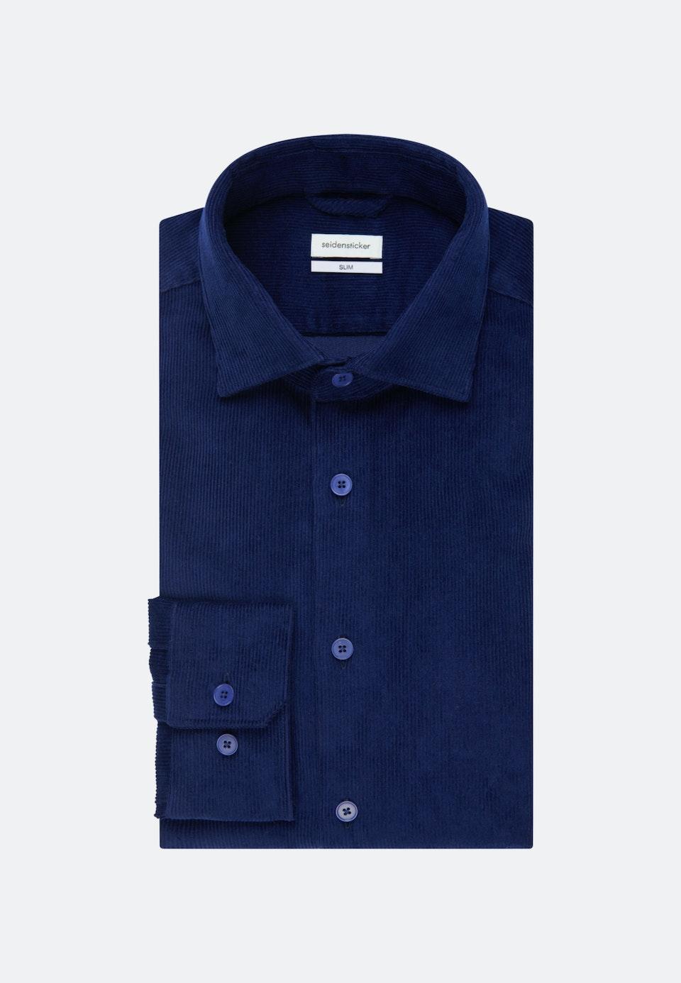 Bügelleichtes Cord Business Hemd in Slim mit Kentkragen in Mittelblau    Seidensticker Onlineshop