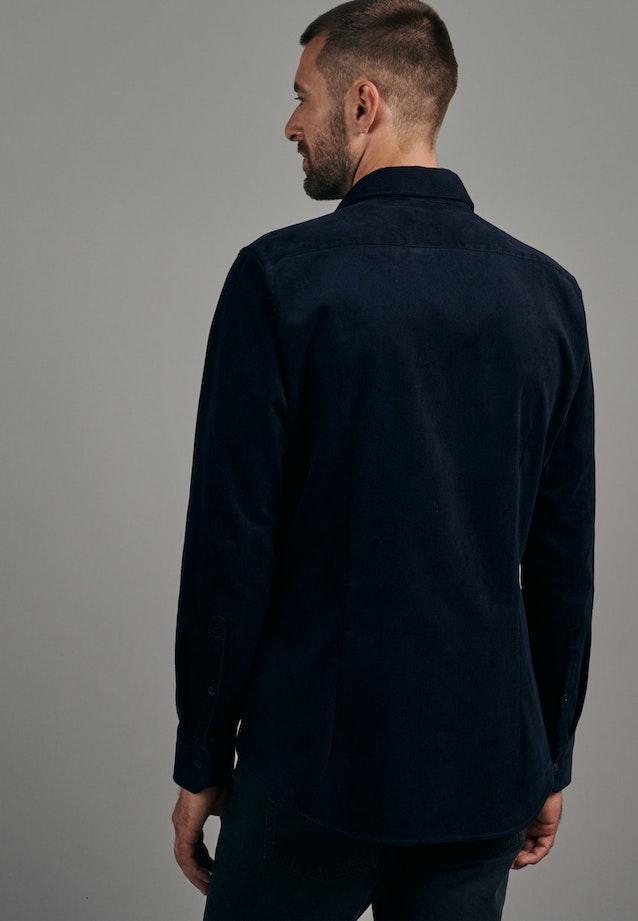 Bügelleichtes Cord Business Hemd in Slim mit Kentkragen in Dunkelblau |  Seidensticker Onlineshop