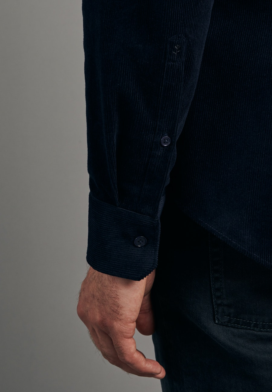 Easy-iron Cord Business Shirt in Slim with Kent-Collar in Dark blue |  Seidensticker Onlineshop
