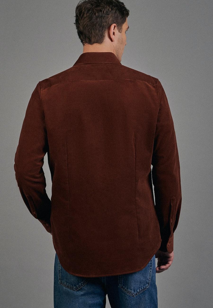 Bügelleichtes Cord Business Hemd in Slim mit Kentkragen in Orange |  Seidensticker Onlineshop