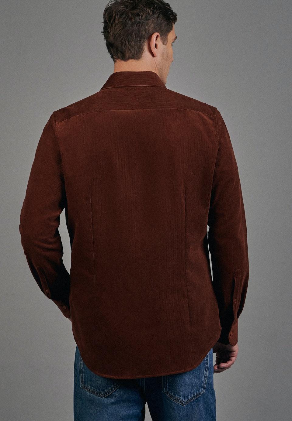 Easy-iron Cord Business Shirt in Slim with Kent-Collar in Orange |  Seidensticker Onlineshop