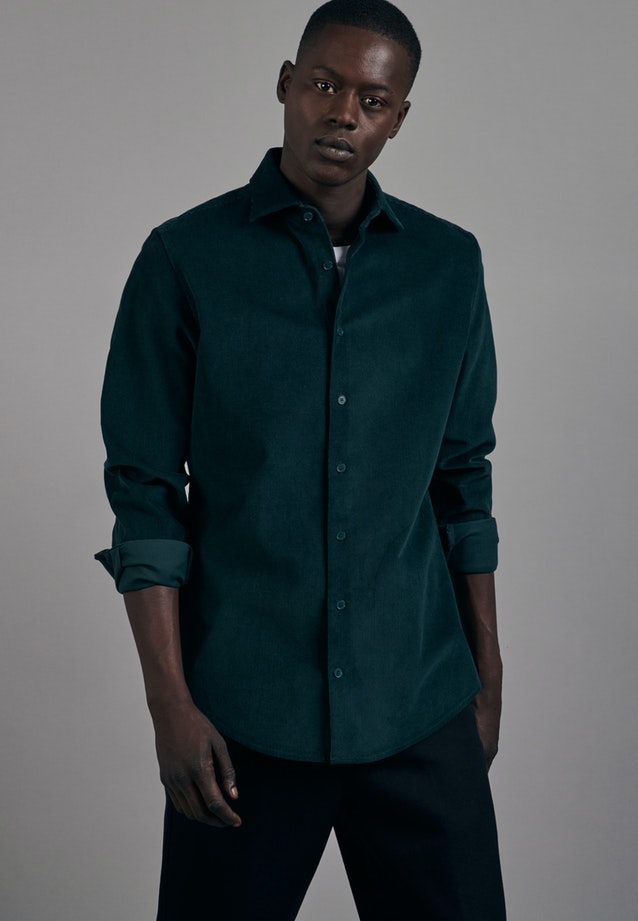 Easy-iron Corduroy Business Shirt in Slim with Kent-Collar in Green |  Seidensticker Onlineshop