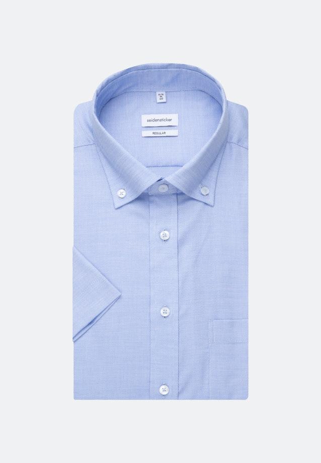 Non-iron Struktur Short sleeve Business Shirt in Regular with Button-Down-Collar in Light blue |  Seidensticker Onlineshop