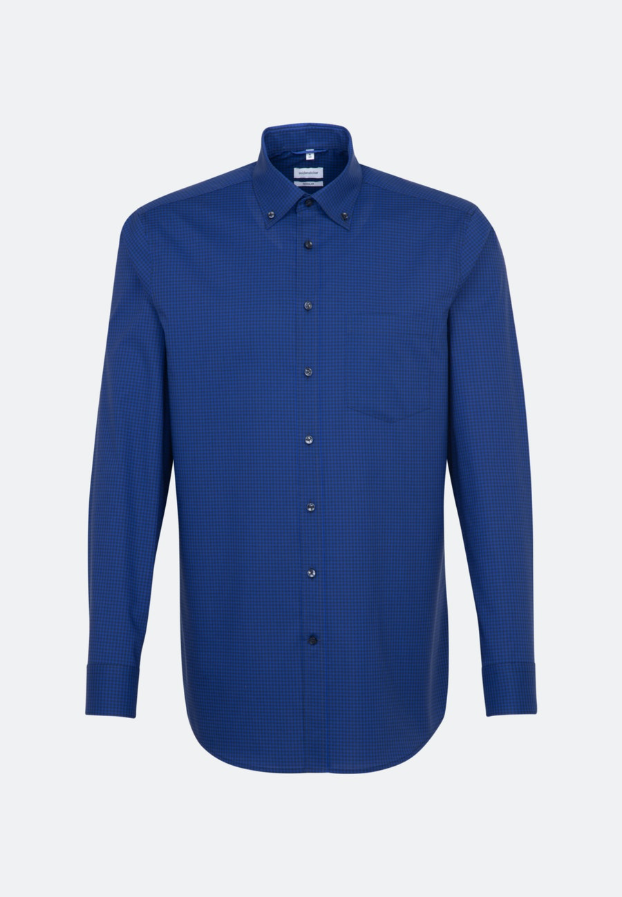 Non-iron Poplin Business Shirt in Regular with Button-Down-Collar in Medium blue |  Seidensticker Onlineshop