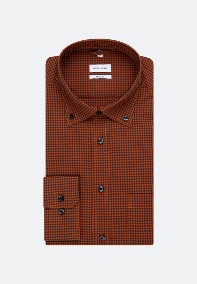Non-iron Poplin Business Shirt in Regular with Button-Down-Collar in Orange |  Seidensticker Onlineshop
