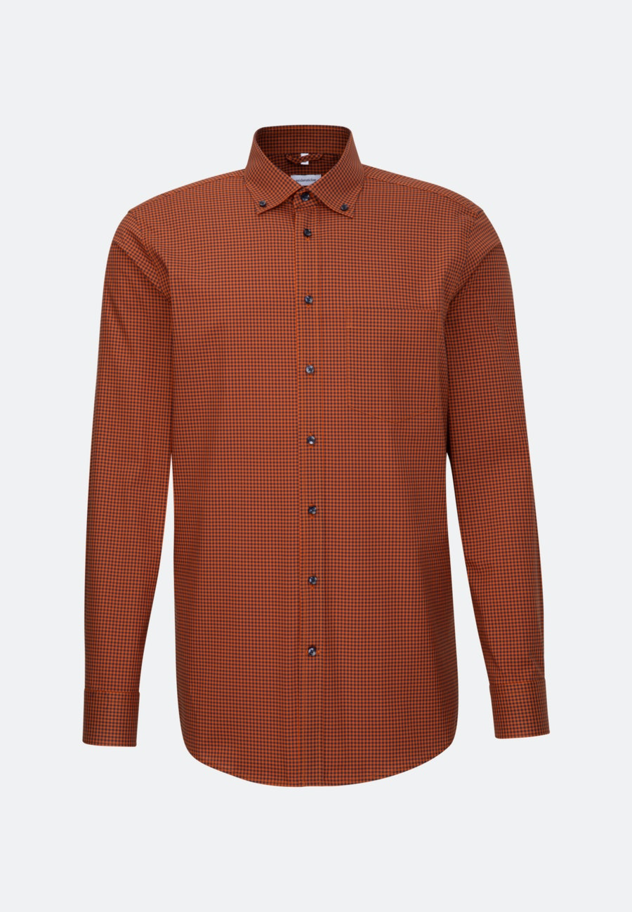 Bügelfreies Popeline Business Hemd in Regular mit Button-Down-Kragen in Orange |  Seidensticker Onlineshop