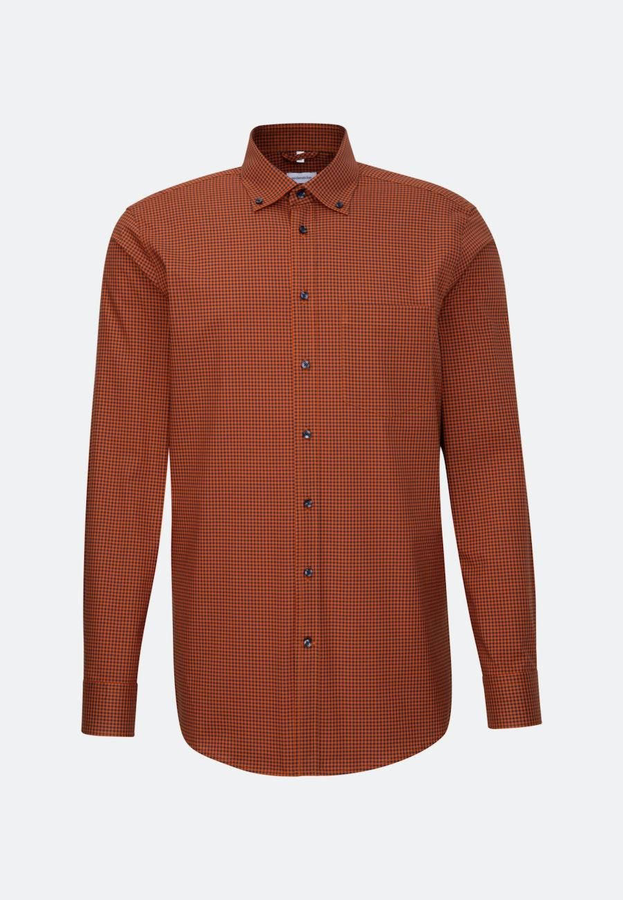 Bügelfreies Popeline Business Hemd in Regular mit Button-Down-Kragen in Orange |  Seidensticker Onlineshop