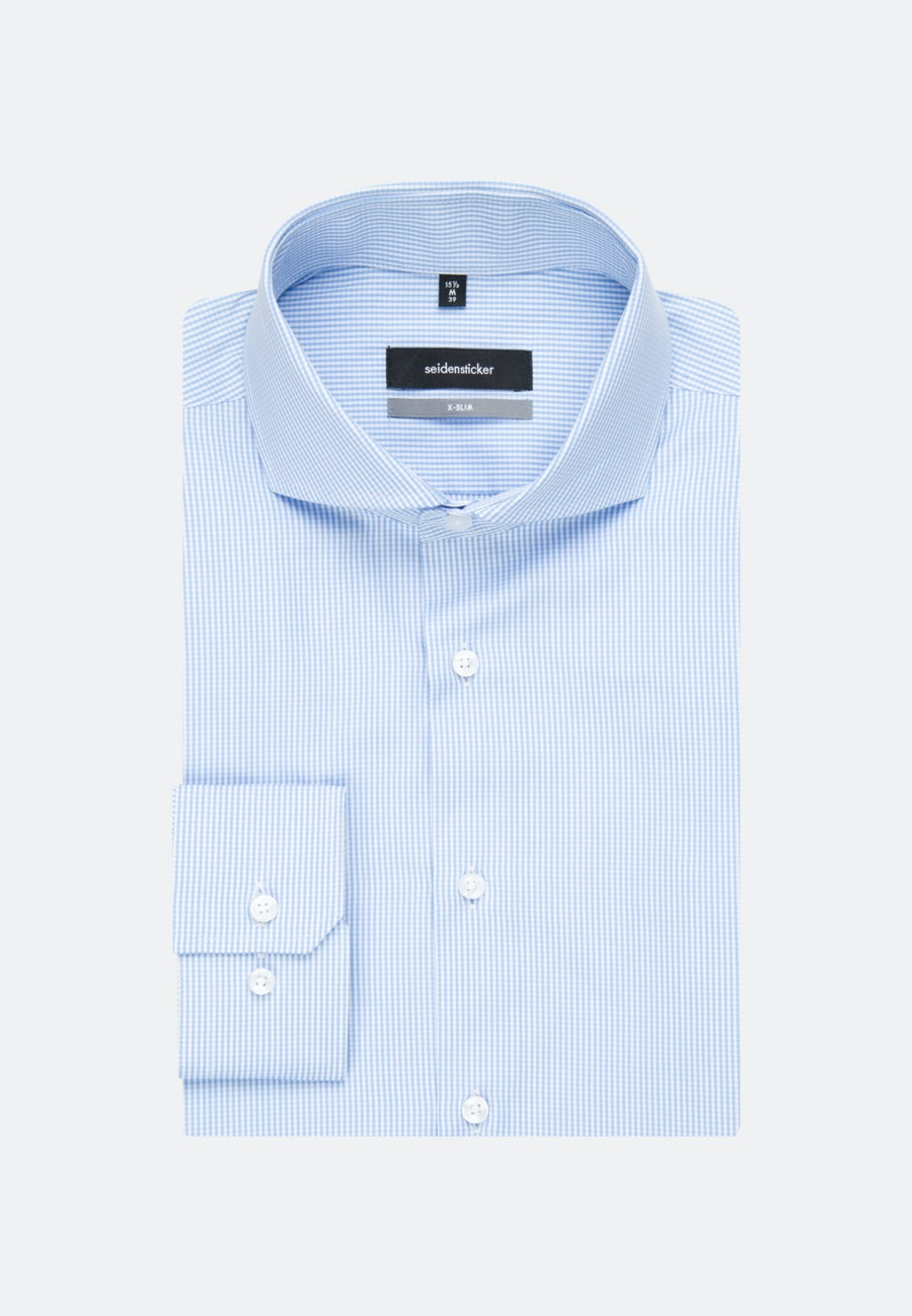 Easy-iron Popeline Business Shirt in X-Slim with Shark Collar in Light blue |  Seidensticker Onlineshop