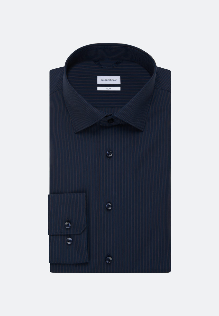 Non-iron Poplin Business Shirt in Slim with Kent-Collar in Orange |  Seidensticker Onlineshop