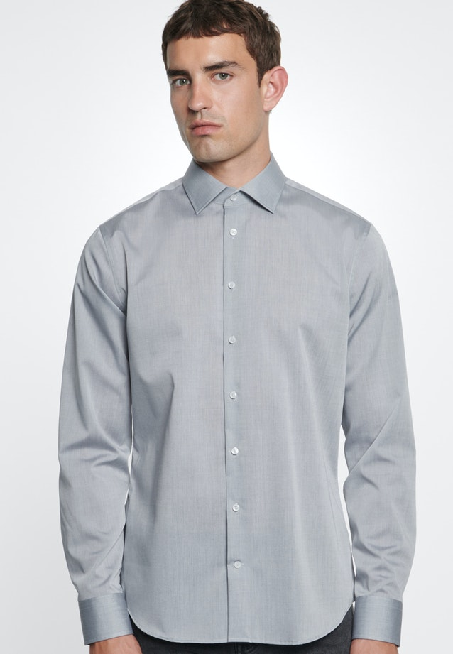 Non-iron Chambray Business Shirt in X-Slim with Kent-Collar in Grey    Seidensticker Onlineshop