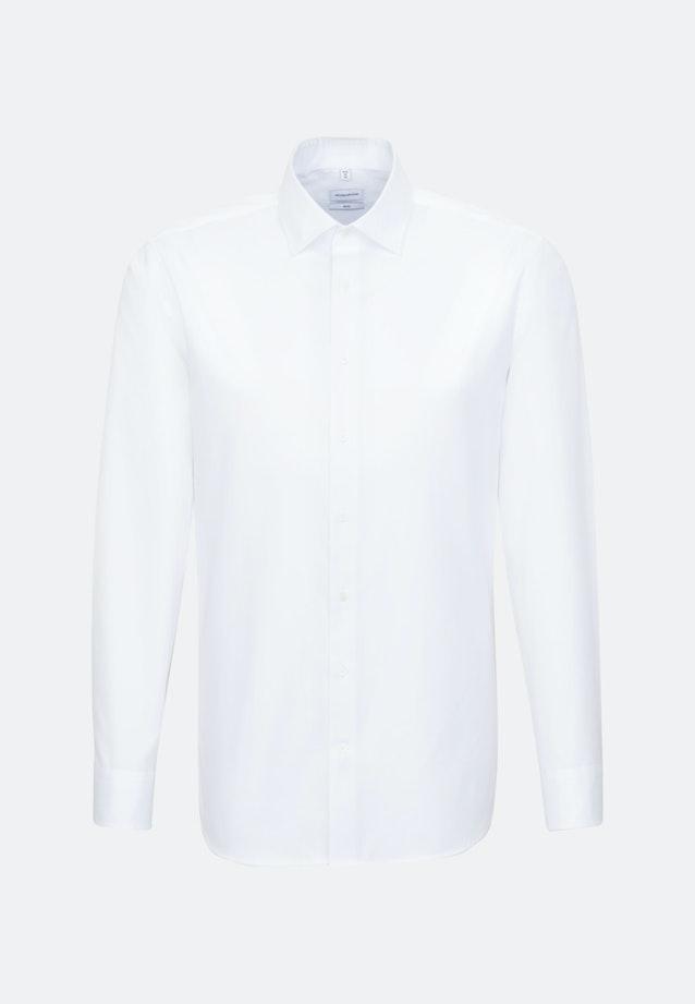Bügelleichtes Satin Business Hemd in Slim mit Kentkragen in Weiß    Seidensticker Onlineshop